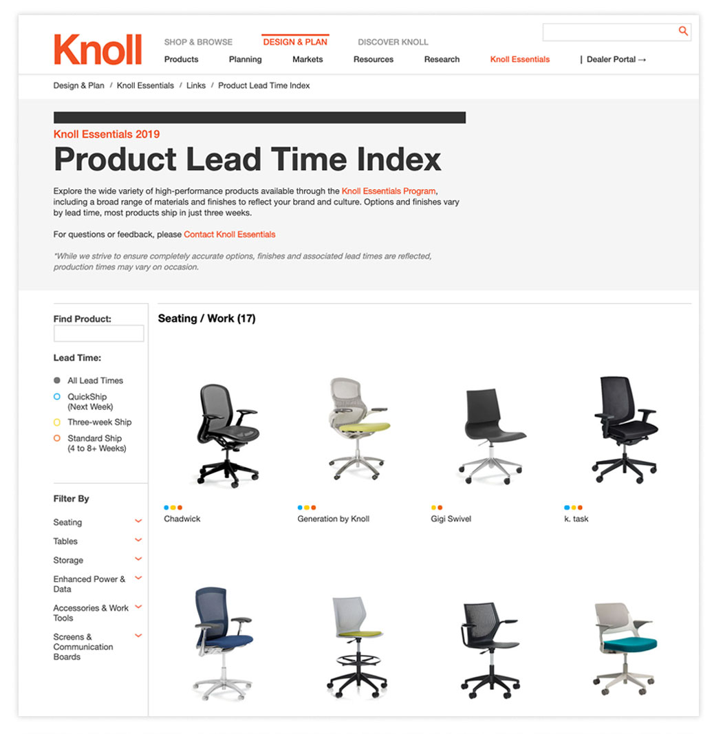 Knoll Essentials Product Lead Time Index